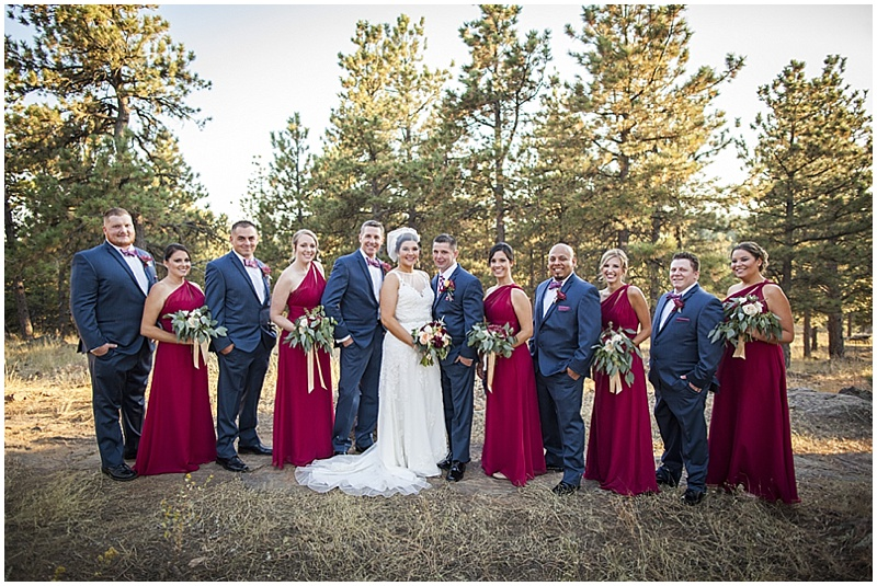 charcoal and red wedding attire