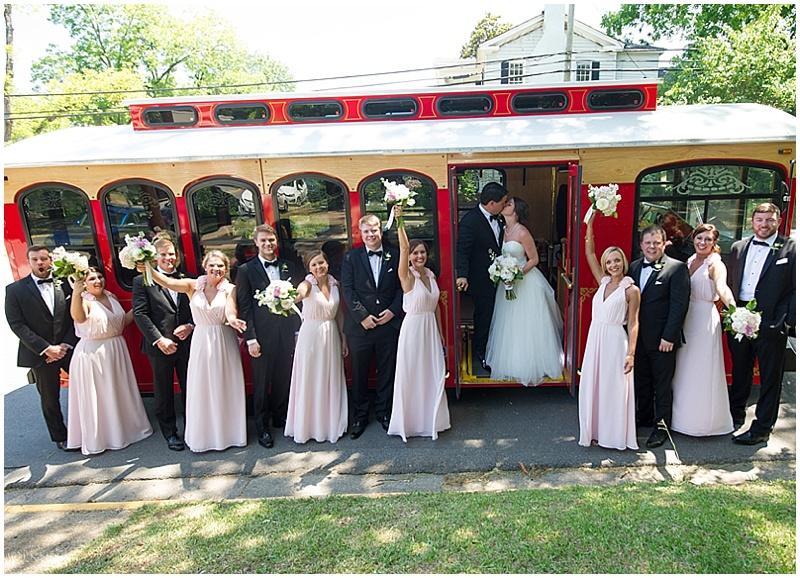 trolley car wedding photos
