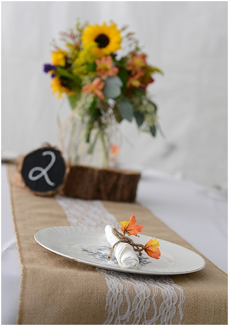 wedding reception rustic decor