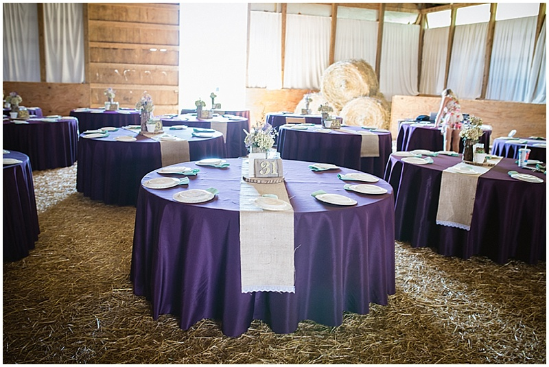 purple table cloth wedding decor