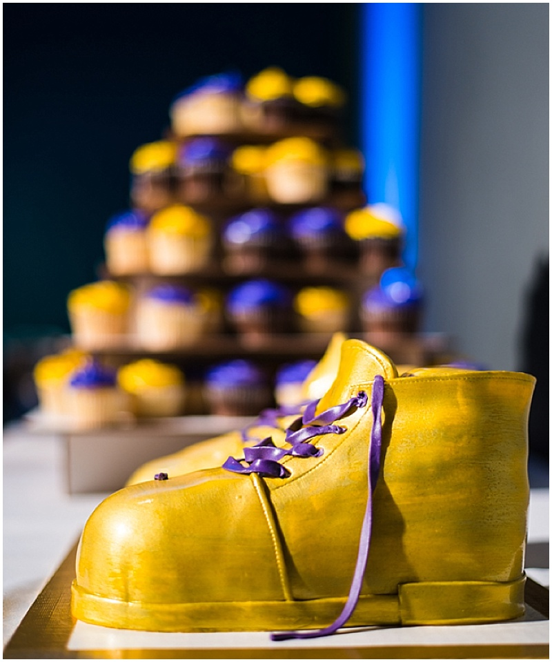 gold and purple wedding details