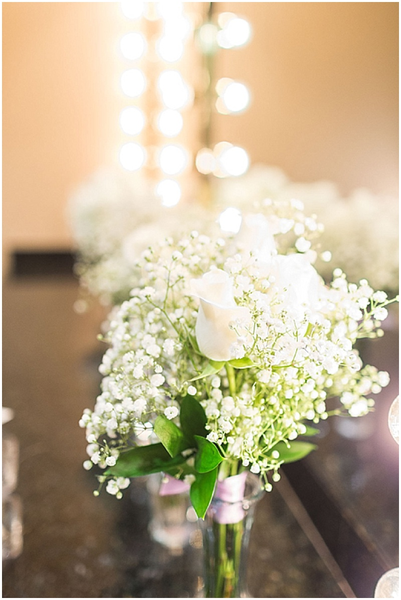white rose and baby breath bouquets