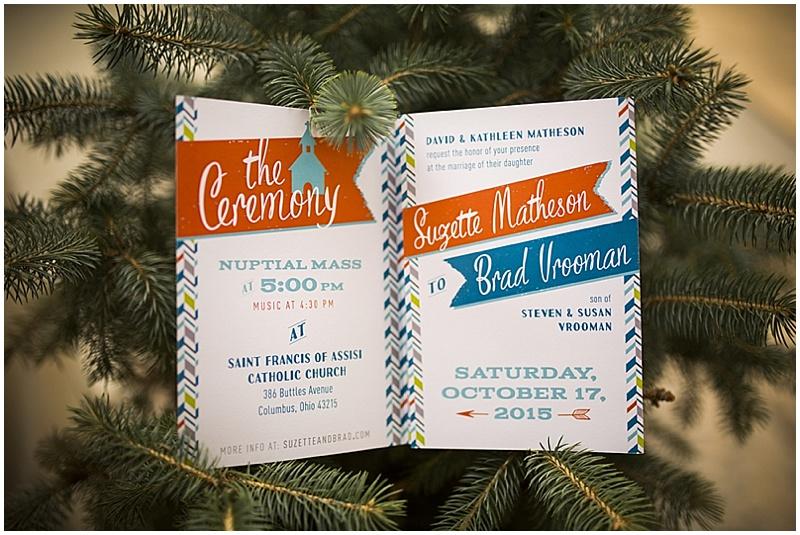 teal and orange invitations