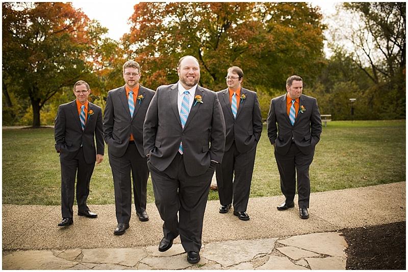 teal and orange wedding attire