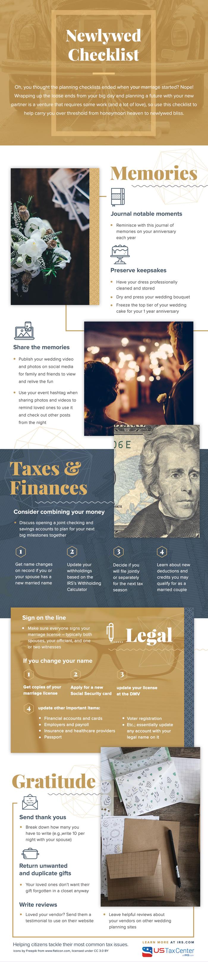 Newlywed Checklist from IRS.gov