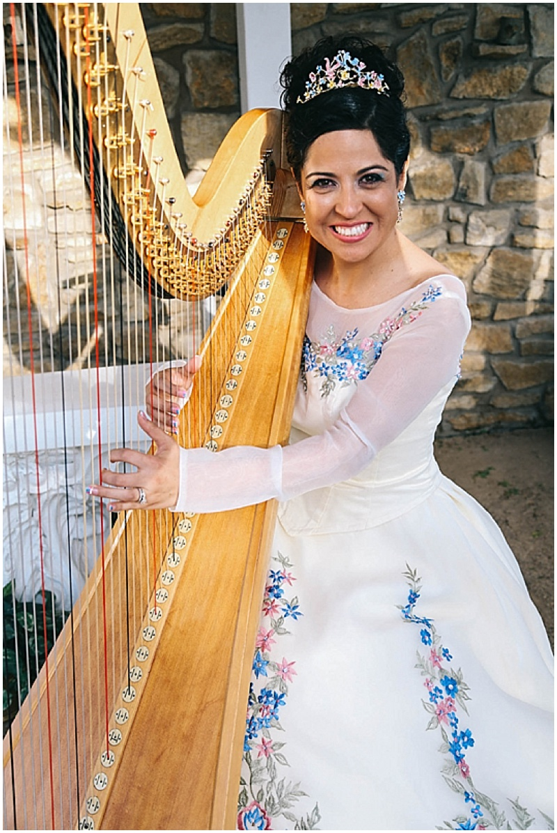 harp wedding photos