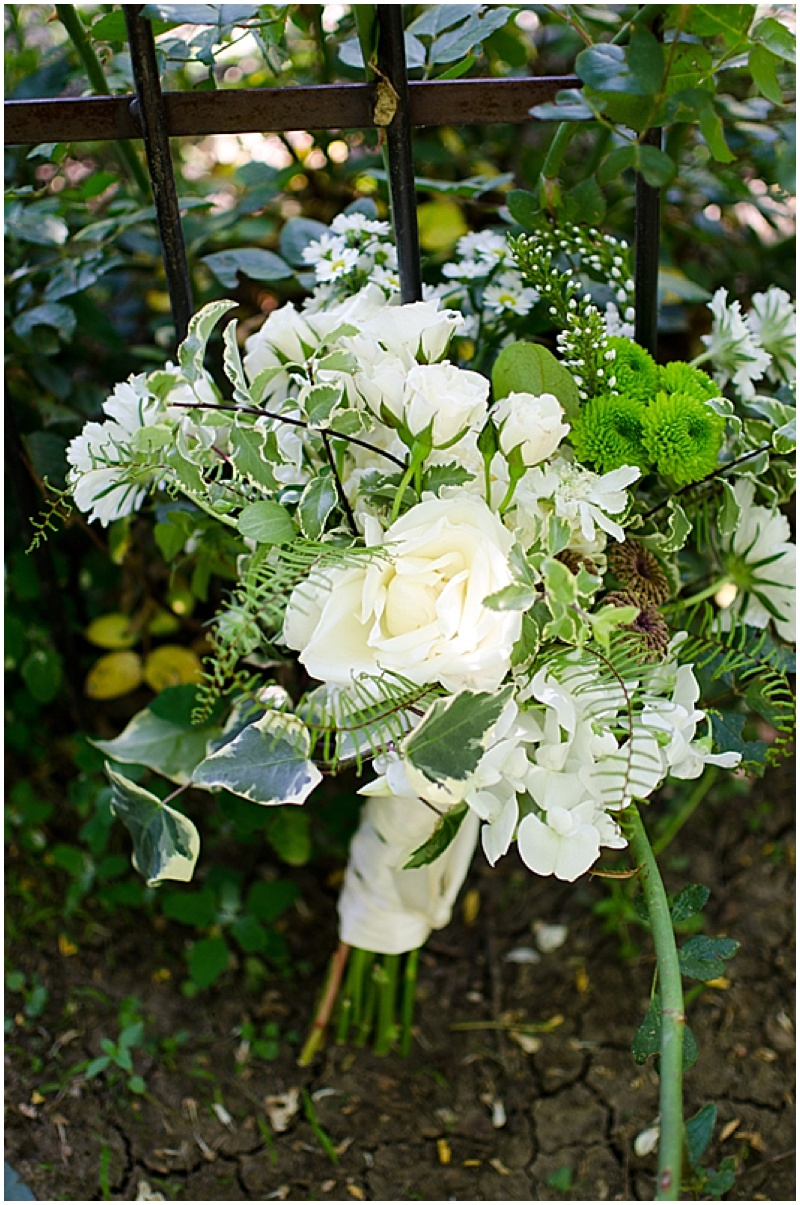 white and soft green bouquets