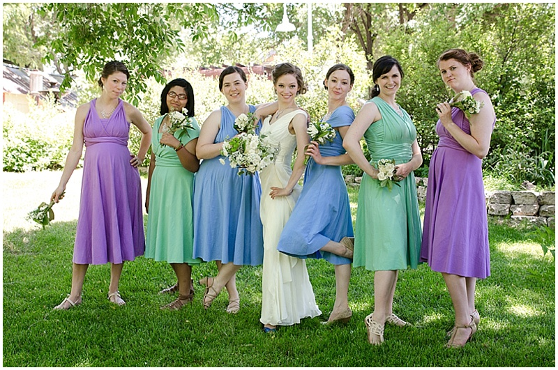 purple blue and mint bridesmaid dresses