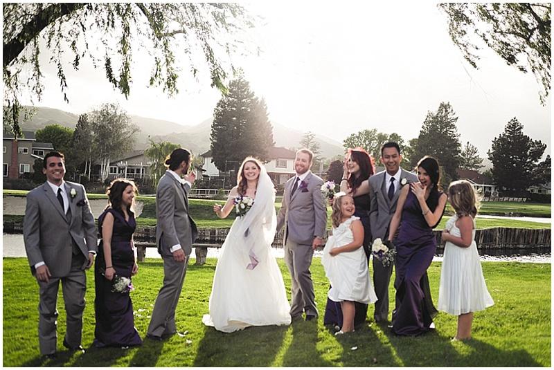 gray and purple wedding attire