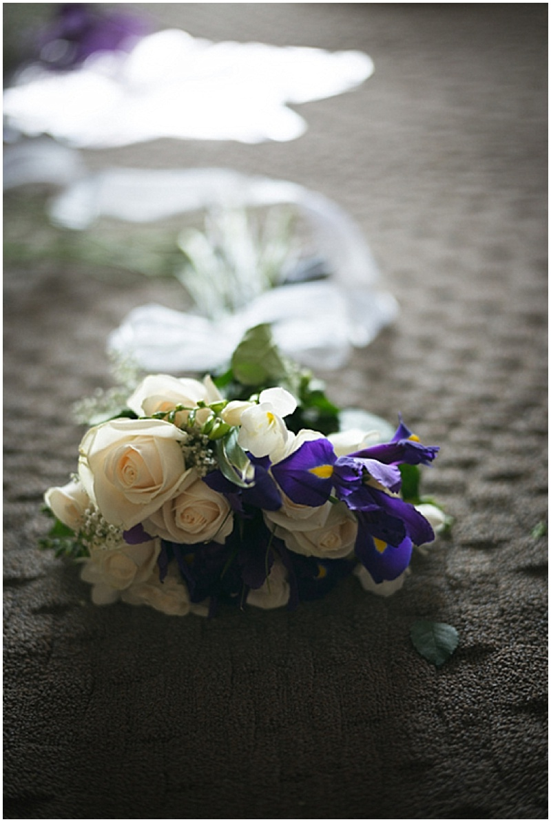 white and purple wedding bouquet