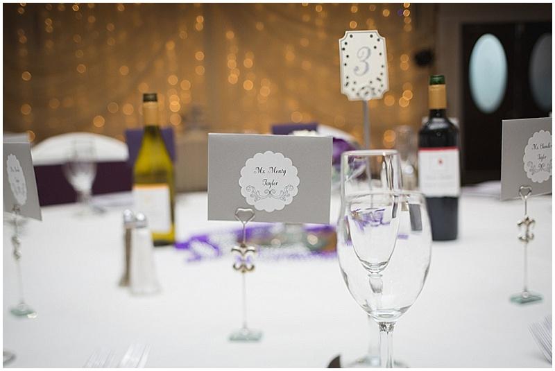 silver and purple wedding decor