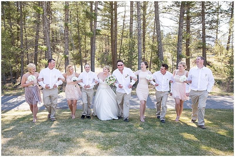 khaki and blush wedding attire