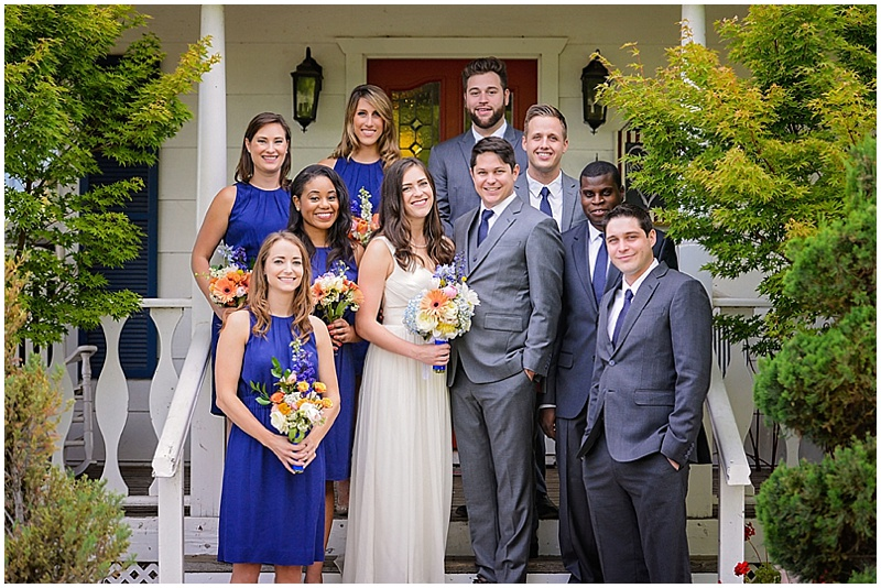 gray and blue wedding attire