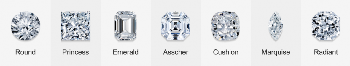 blue nile diamond shapes