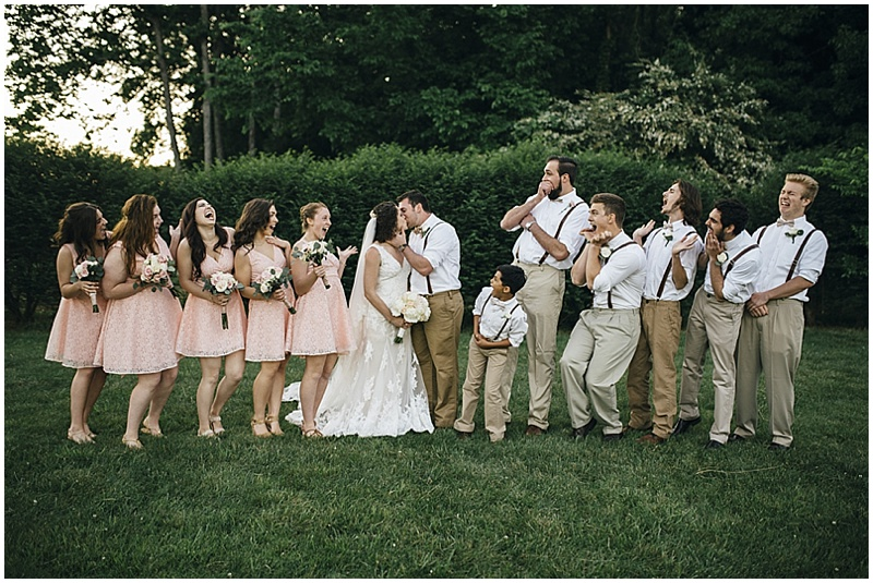 blush and khaki wedding attire