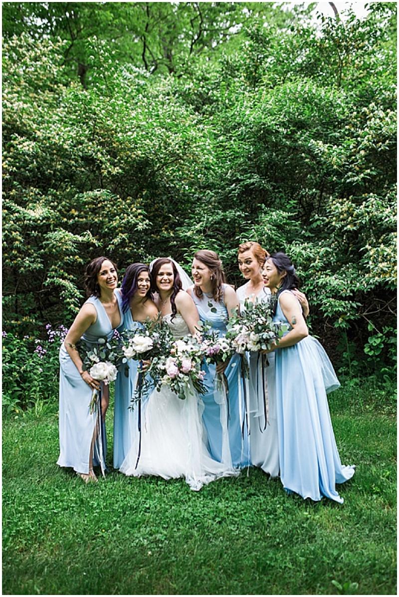 mismatched blue wedding dresses