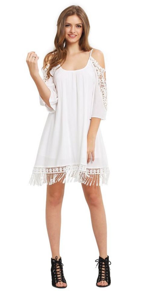 Milumia Women's Summer Cold Shoulder Crochet Lace Sleeve Tassel Beach Dress