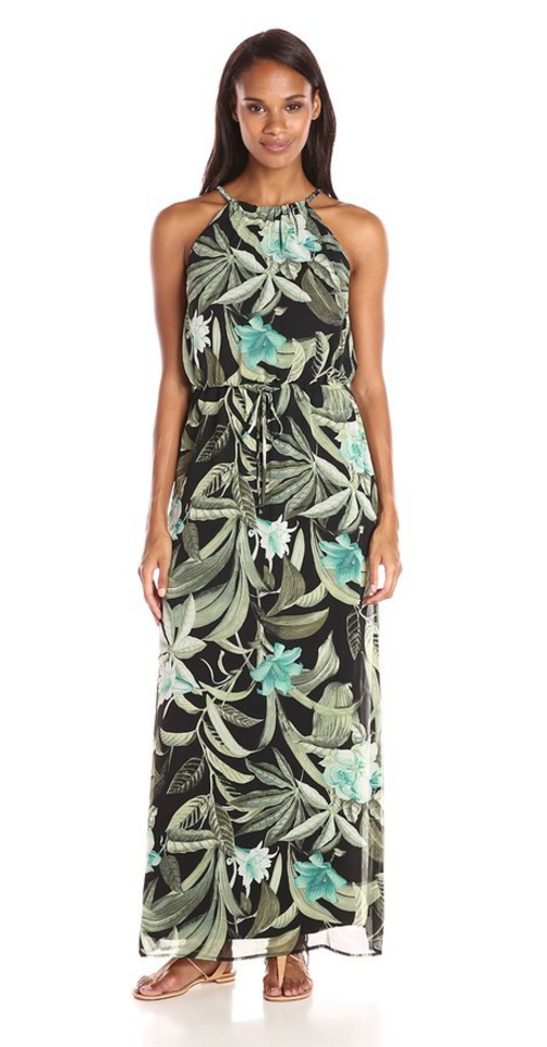 Connected Apparel Women's Chain Halter Print Chiffon Halter Dress