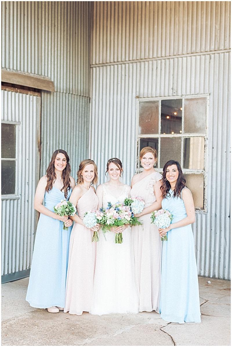 sky blue and blush bridesmaid dresses