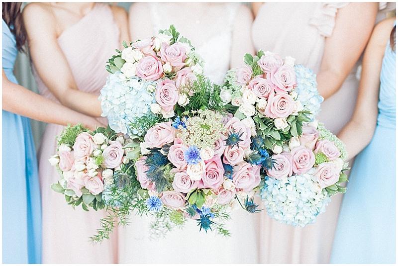 sky blue and blush wedding flowers