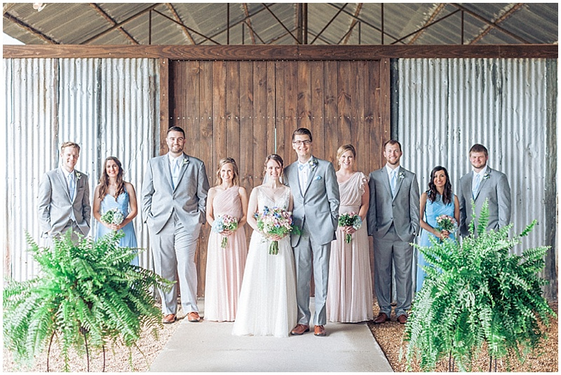 blue, pink and gray wedding attire