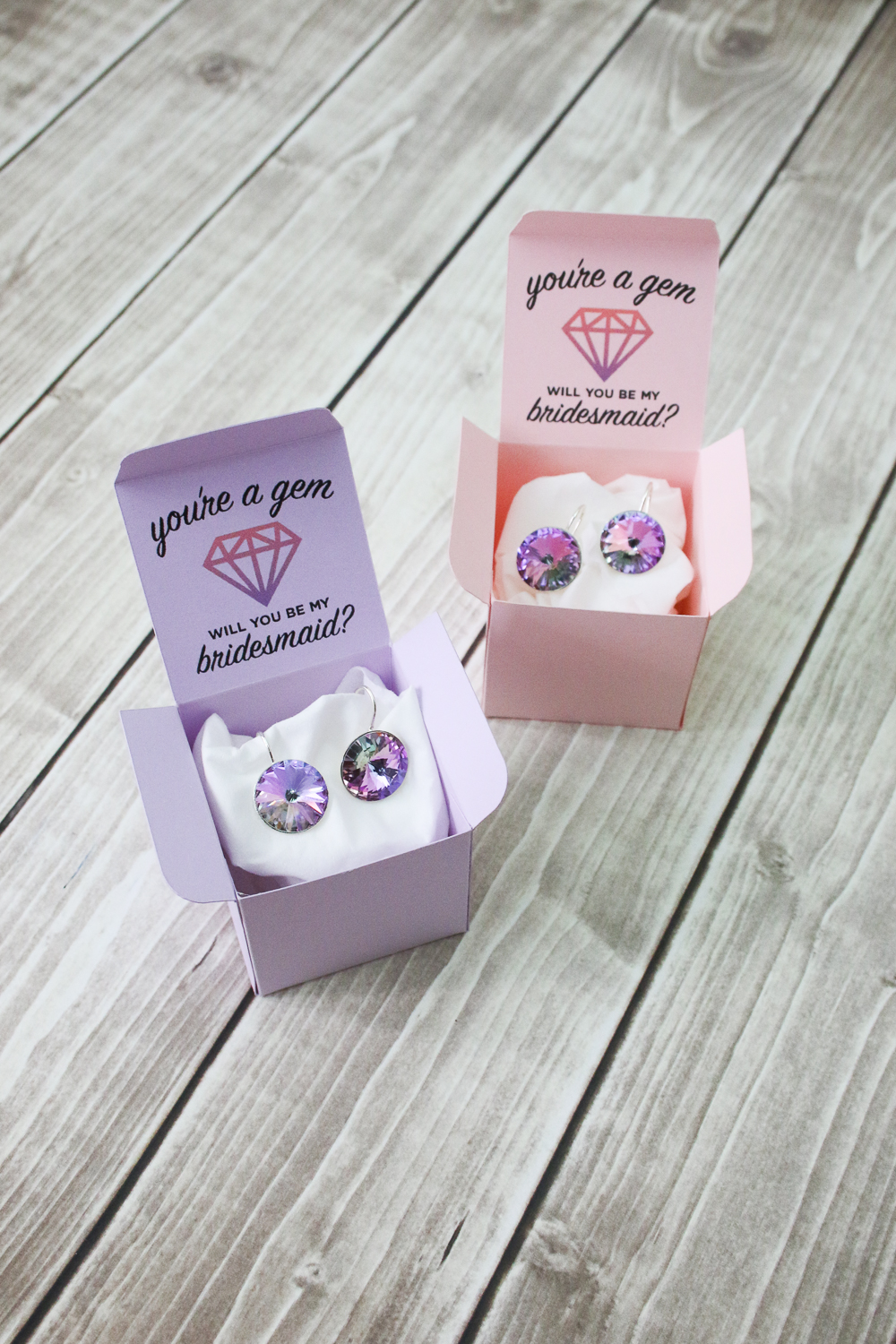 diy bridesmaids proposal project - You're a Gem Earrings + Custom Box