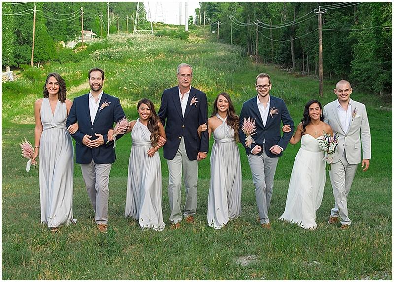 navy and gray wedding attire