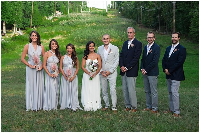 gray and navy wedding attire