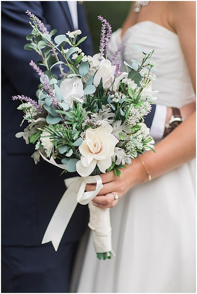 white, lavender and green wedding bouquet