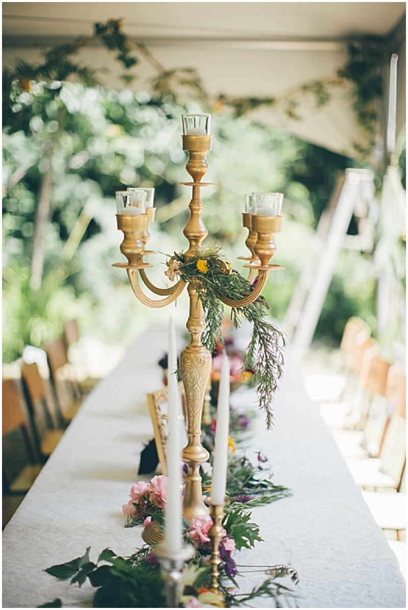gold candles wedding decor