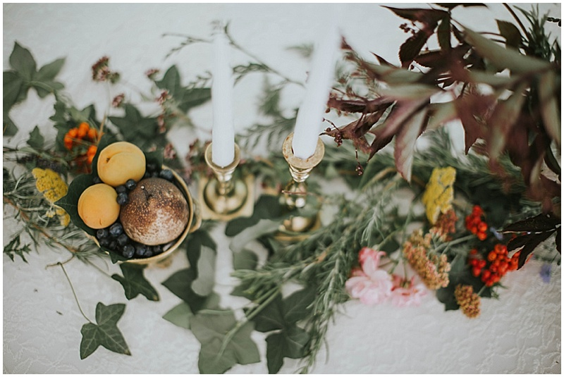 floral and fruit wedding decor