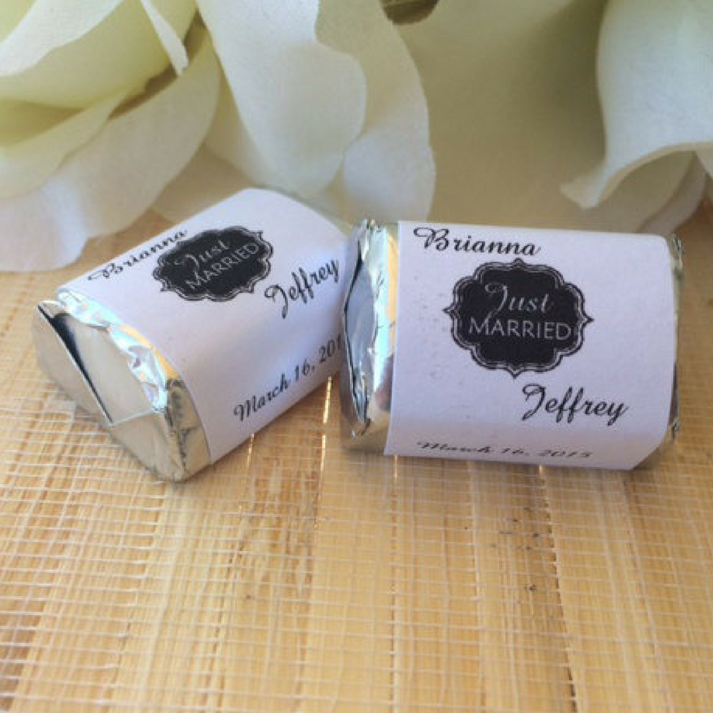 Custom Chalkboard Wedding Candy Wrappers by FavorUniverse on Etsy