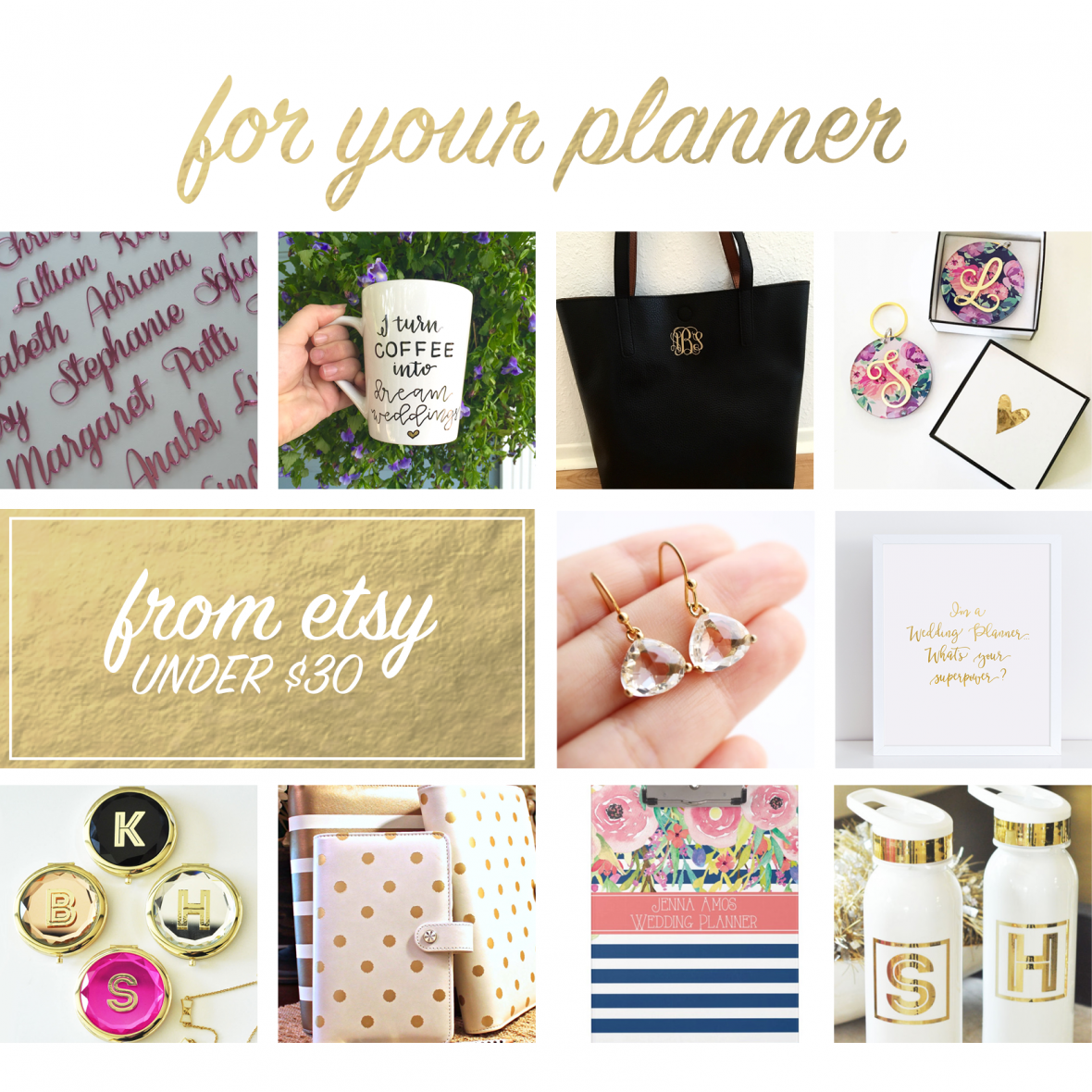 Handmade gifts for wedding planners from Etsy