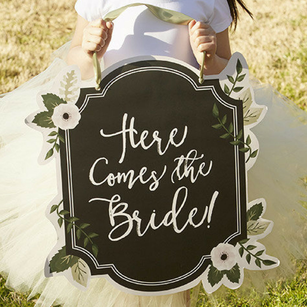 """Flower Girl """"Here Comes the Bride"""" Chalkboard Sign by TaaraBazaar on Etsy"""
