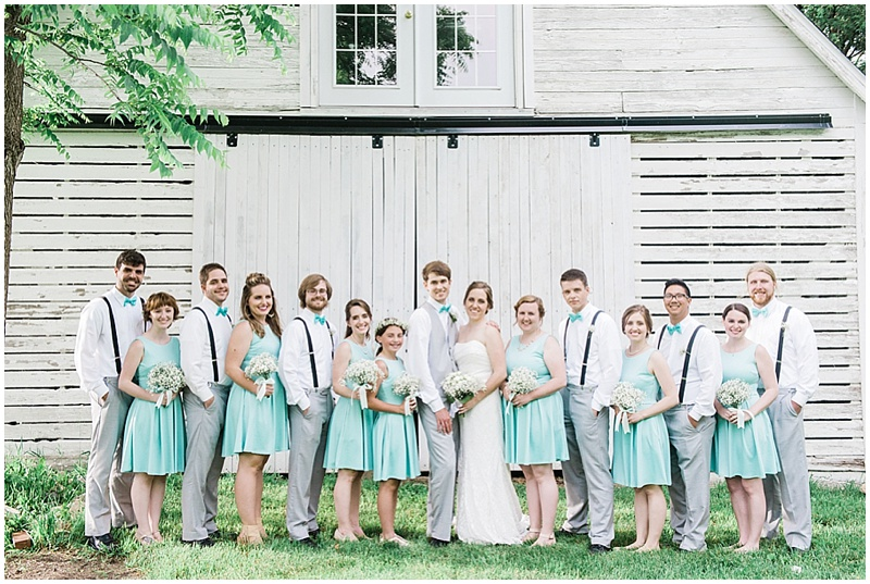 aqua and gray wedding attire