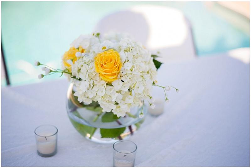 white and yellow wedding decor