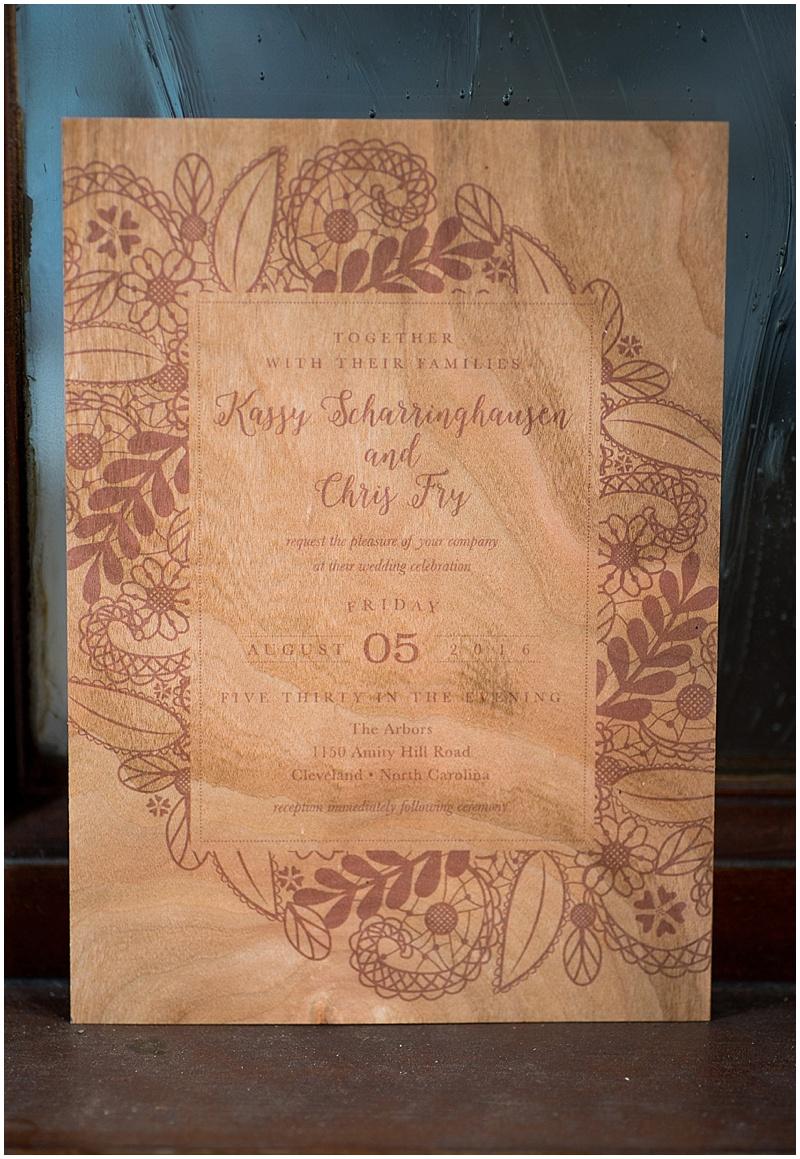 wooden invitation