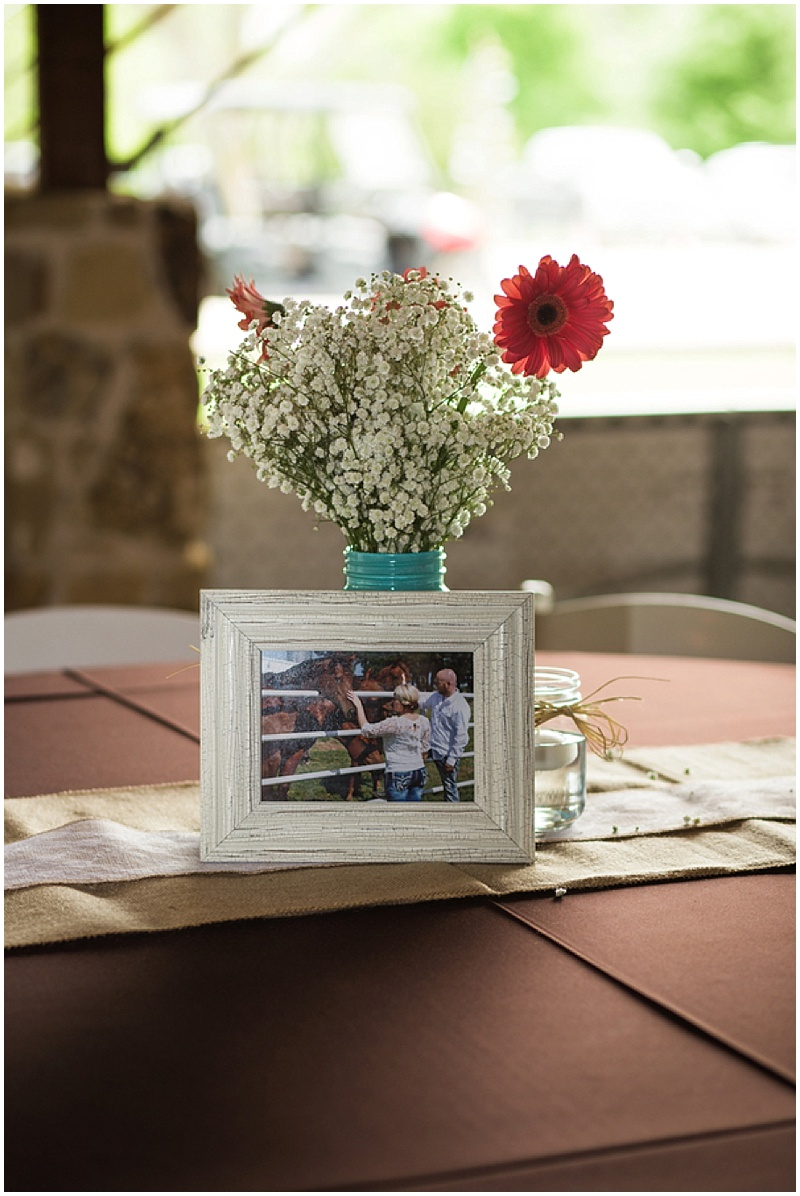 teal and red wedding decor