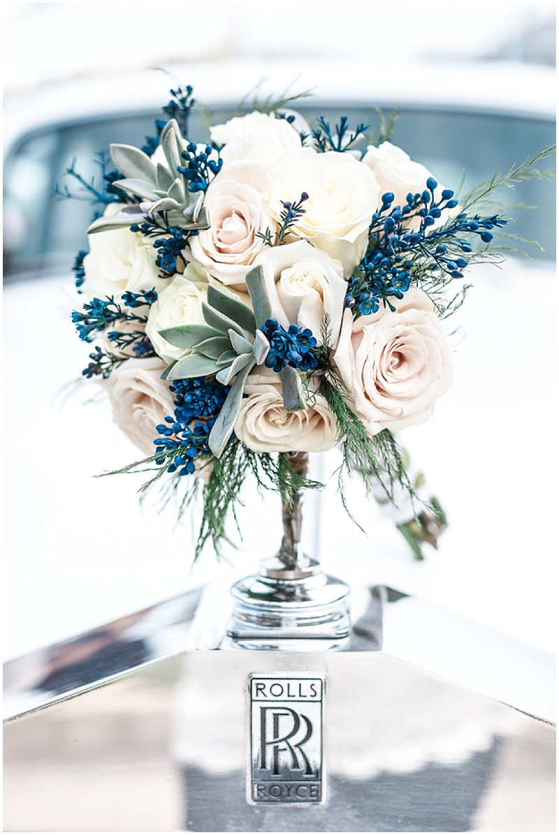 blush and blue wedding flowers