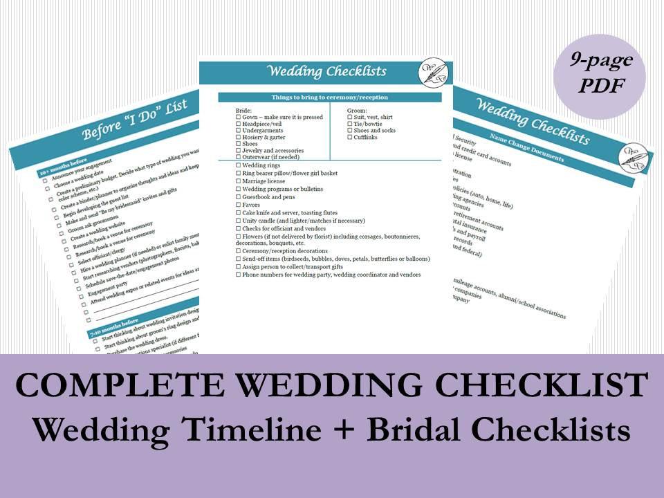 Complete Wedding Checklist by WickedDesignsBoston on Etsy
