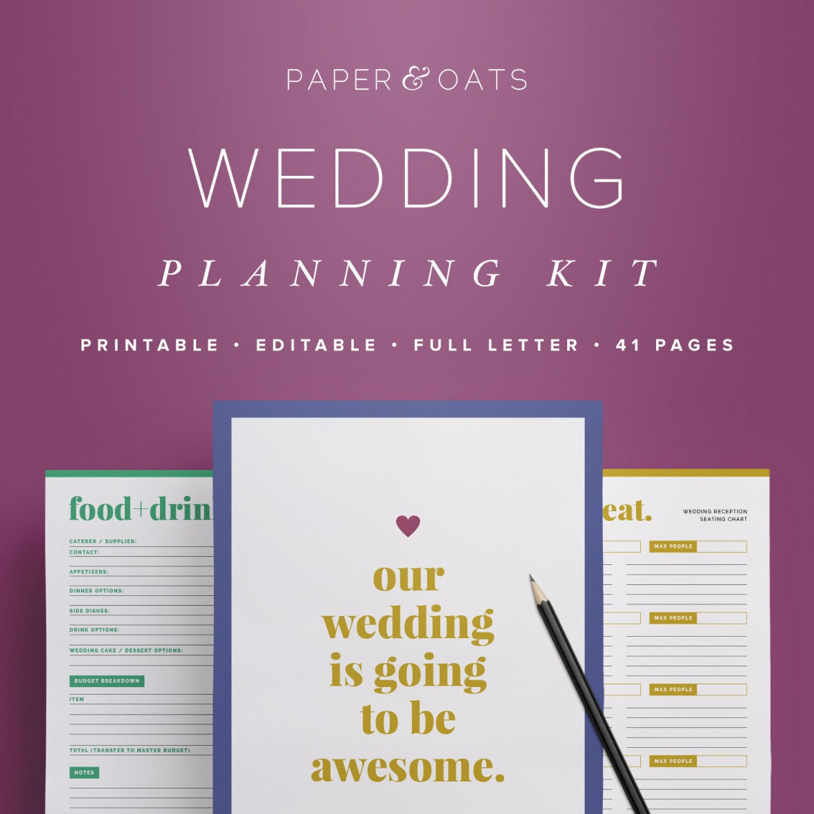 Editable Wedding Planning Kit by Paperandoats on Etsy