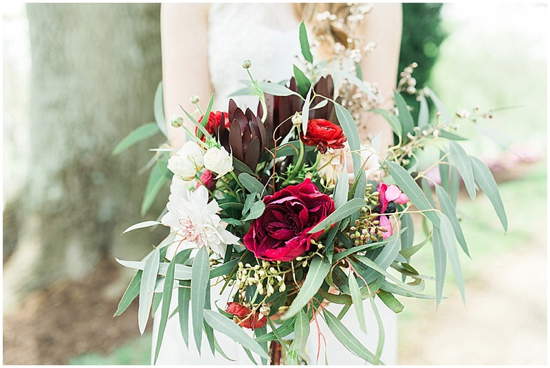 spring green and red bouquet