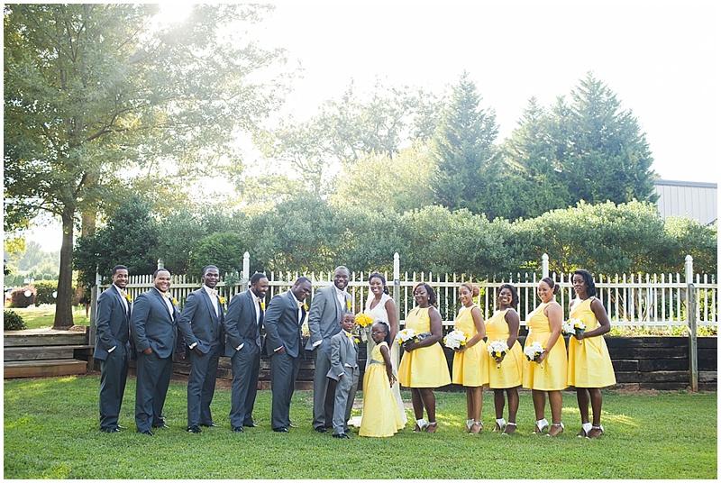 gray and yellow wedding attire