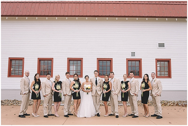 black and khaki wedding party attire