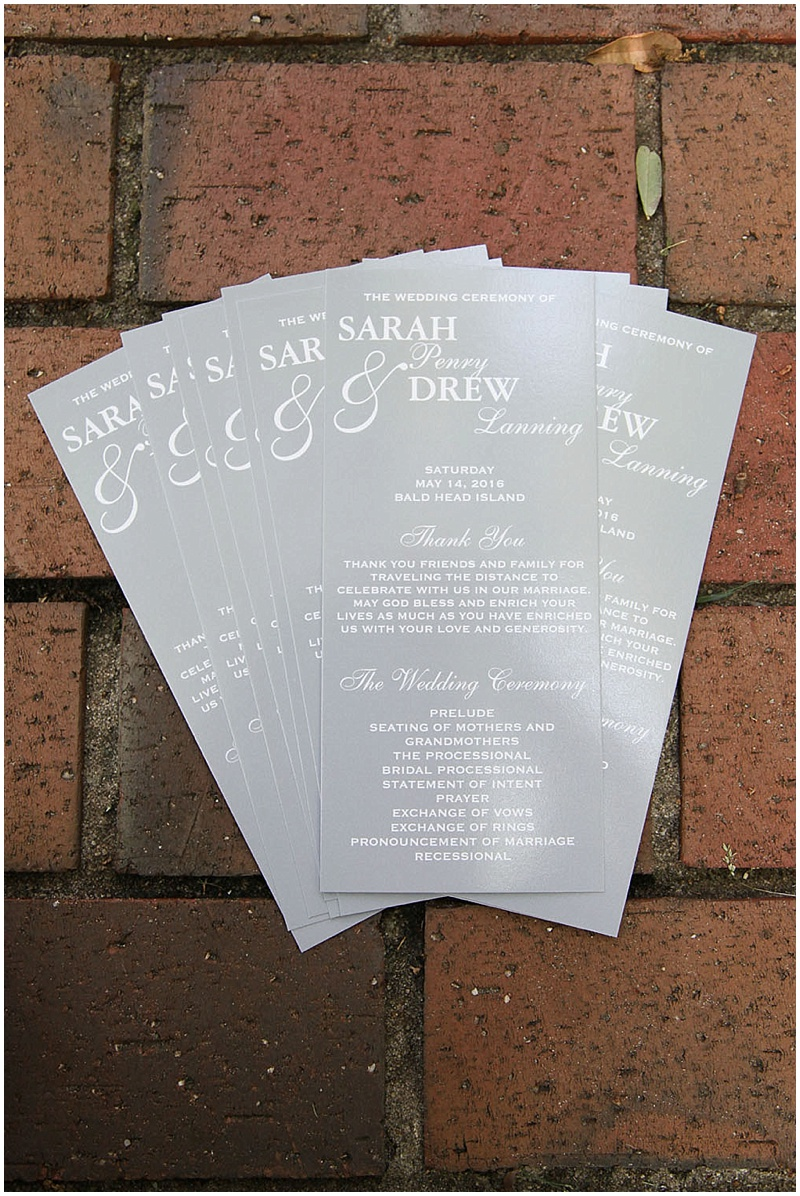 gray wedding programs
