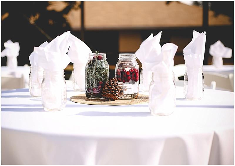ball jar winter wedding decor