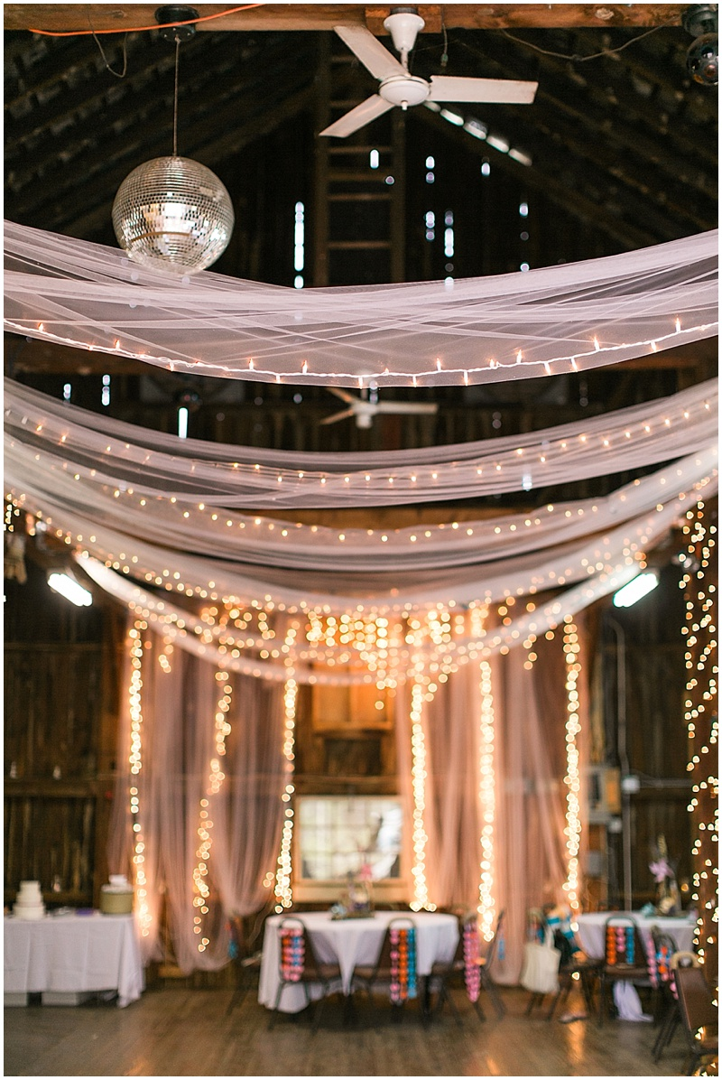 tulle and Christmas light decor