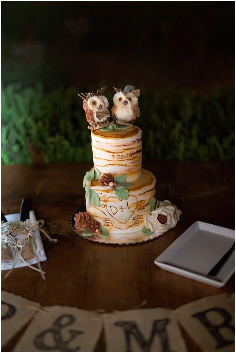 birch inspired wedding cake