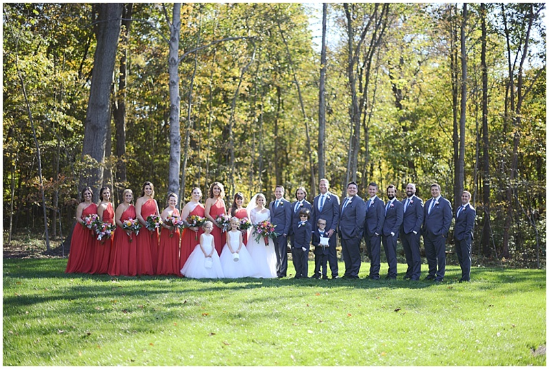 gray and orange wedding attire