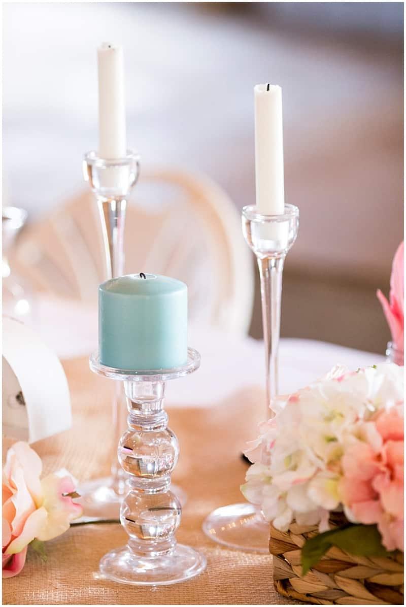 teal and pink wedding decor